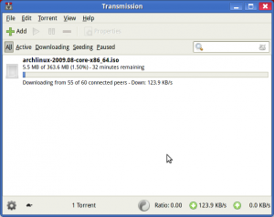 Interface GTK do Transmission
